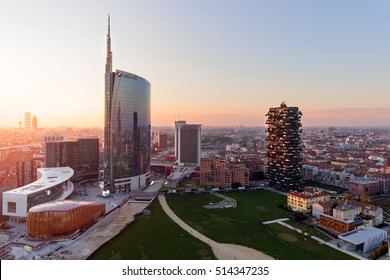 MILAN, ITALY - NOV 8, 2016: Milan aerial view at sunset of the Porta Volta renovation with the Solaria tower complex, Alvar Aalto square and the Diamante tower in the business district