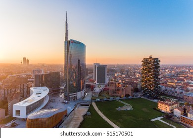 MILAN, ITALY - NOV 8, 2016: Milan aerial view at sunset of the Porta Volta renovation with Unicredit tower, Bosco Verticale skyscraper and the Garibaldi railway station in the business district