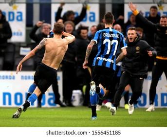 MILAN, ITALY - November 09, 2019:  Nicolo Barella celebrates with his teammates after scoring a goal during the Serie A 2019/2020 INTER v VERONA at San Siro Stadium.