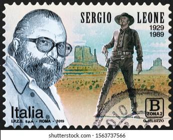 Milan, Italy - November 09, 2019: Portrait of italian film maker Sergio Leone on stamp
