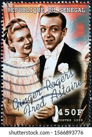 Milan, Italy - November 09, 2019: Fred Astaire and Ginger Rogers on postage stamp