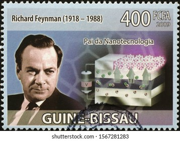 Milan, Italy - November 09, 2019: Richard Feynman, Nobel Prize in Physics, on postage stamp