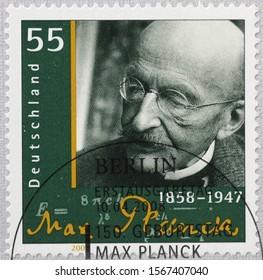 Milan, Italy - November 09, 2019: Physicist Max Planck on german postage stamp