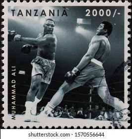 Milan, Italy - November 09, 2019: Picture of Muhammed Ali during a match on stamp