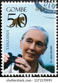 Milan, Italy - November 09, 2019: Portrait of Dr.Jane Goodall on postage stamp