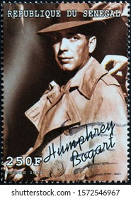 Milan, Italy - November 09, 2019: Humphrey Bogart on postage stamp
