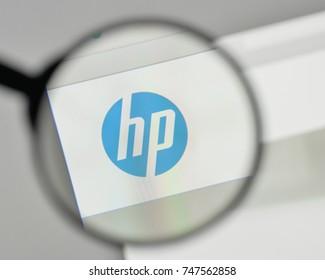 Milan, Italy - November 1, 2017: HP logo on the website homepage.