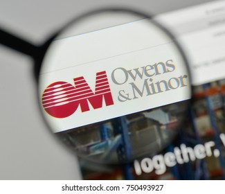 Milan, Italy - November 1, 2017: Owens & Minor logo on the website homepage.