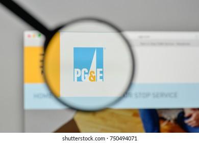 Milan, Italy - November 1, 2017: PG & E Corp. logo on the website homepage.