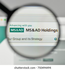 Milan, Italy - November 1, 2017: MS & AD Insurance Group Holdings logo on the website homepage.