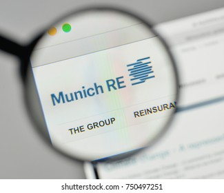 Milan, Italy - November 1, 2017: Munich Re Group logo on the website homepage.