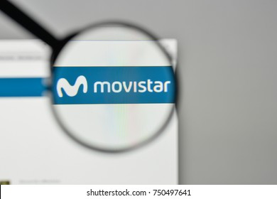 Milan, Italy - November 1, 2017: Movistar logo on the website homepage.