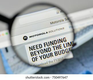 Milan, Italy - November 1, 2017: Motorola Solutions logo on the website homepage.