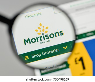 Milan, Italy - November 1, 2017: Morrison Super Markets logo on the website homepage.