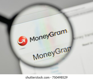 Milan, Italy - November 1, 2017: Money Gram logo on the website homepage.