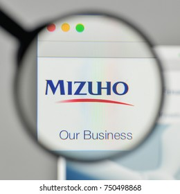 Milan, Italy - November 1, 2017: Mizuho Financial Group logo on the website homepage.