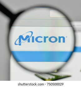 Milan, Italy - November 1, 2017: Micron Technology logo on the website homepage.