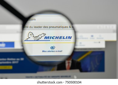 Milan, Italy - November 1, 2017: Michelin logo on the website homepage.