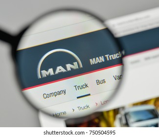 Milan, Italy - November 1, 2017: MAN Truck Bus Company logo on the website homepage.