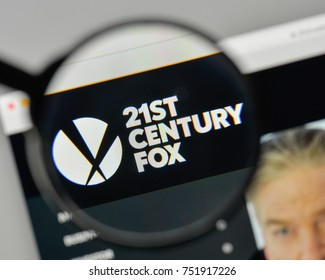 Milan, Italy - November 1, 2017: 21st Century Fox logo on the website homepage.