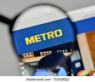 Milan, Italy - November 1, 2017: Metro logo on the website homepage.