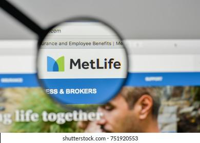 Milan, Italy - November 1, 2017: Met Life logo on the website homepage.