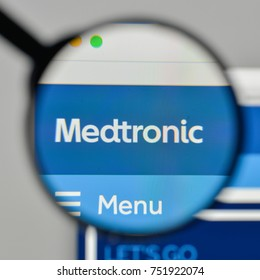 Milan, Italy - November 1, 2017: Medtronic logo on the website homepage.