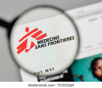 Milan, Italy - November 1, 2017: Medecins sans frontieres logo on the website homepage.