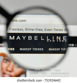 Milan, Italy - November 1, 2017: Maybelline logo on the website homepage.