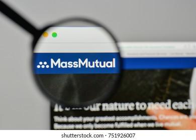 Milan, Italy - November 1, 2017: Massachusetts Mutual Life Insurance logo on the website homepage.