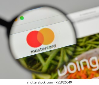 Milan, Italy - November 1, 2017: Mastercard logo on the website homepage.