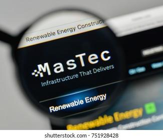 Milan, Italy - November 1, 2017: Mas Tec logo on the website homepage.
