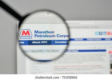 Milan, Italy - November 1, 2017: Marathon Petroleum logo on the website homepage.