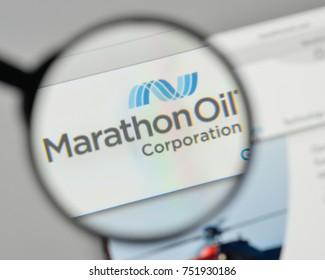 Milan, Italy - November 1, 2017: Marathon Oil logo on the website homepage.