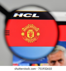 Milan, Italy - November 1, 2017: Manchester United logo on the website homepage.