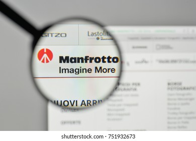 Milan, Italy - November 1, 2017: manfrotto logo on the website homepage.