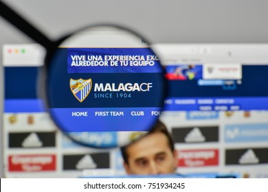 Milan, Italy - November 1, 2017: Malaga CF logo on the website homepage.