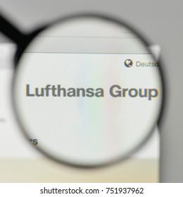 Milan, Italy - November 1, 2017: Lufthansa Group logo on the website homepage.
