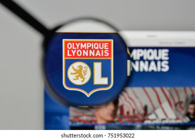 Milan, Italy - November 1, 2017: Olympique Lione logo on the website homepage.