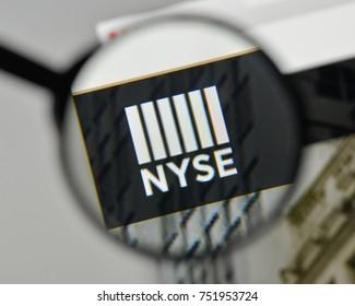Milan, Italy - November 1, 2017: Nyse logo on the website homepage.
