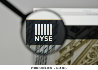 Milan, Italy - November 1, 2017: Nyse logo on the website homepage.