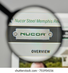 Milan, Italy - November 1, 2017: Nucor logo on the website homepage.