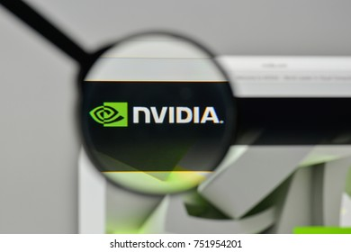 Milan, Italy - November 1, 2017: Nvidia logo on the website homepage.