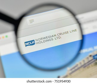 Milan, Italy - November 1, 2017: Norwegian Cruise Line Holdings logo on the website homepage.