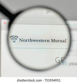 Milan, Italy - November 1, 2017: Northwestern Mutual logo on the website homepage.
