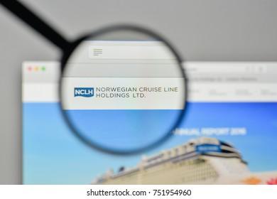 Milan, Italy - November 1, 2017: Norwegian Cruise Line Holdings logo on the website homepage.