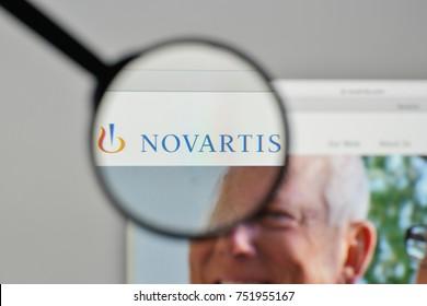 Milan, Italy - November 1, 2017: Novartis logo on the website homepage.