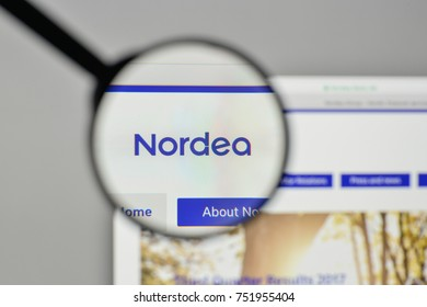 Milan, Italy - November 1, 2017: Nordea logo on the website homepage.