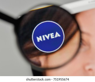 Milan, Italy - November 1, 2017: Nivea logo on the website homepage.