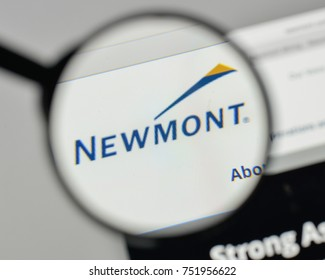 Milan, Italy - November 1, 2017: Newmont Mining logo on the website homepage.